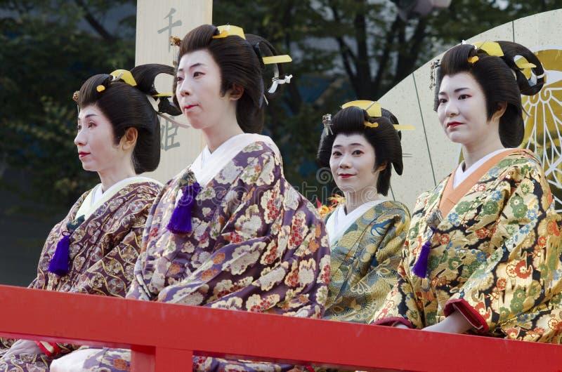 Geiko на фестивале Нагои, Японии стоковые изображения