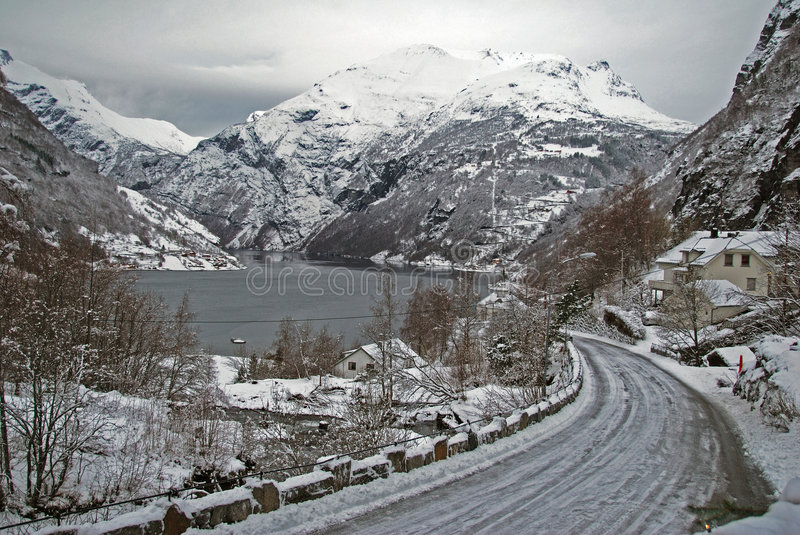 Geiranger In December Royalty Free Stock Photos