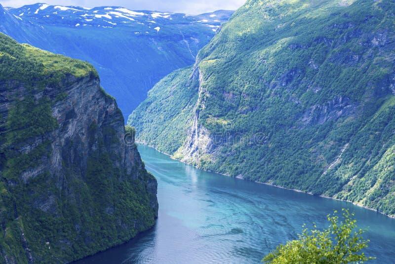 Geiranger fjord sceniczny obrazy royalty free