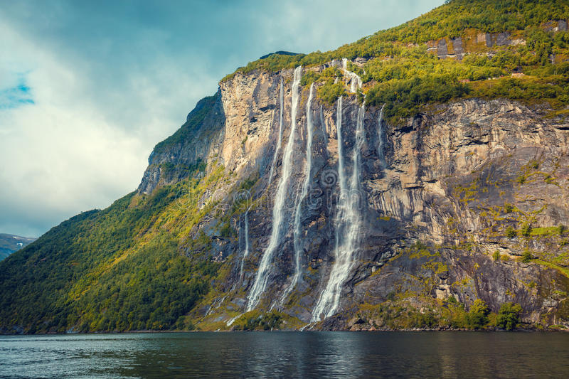 Geiranger fjord. Seven Sisters Waterfall stock photo