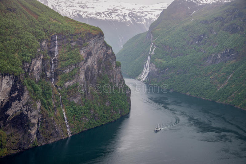 Geiranger fjord and seven sisters waterfall. stock image