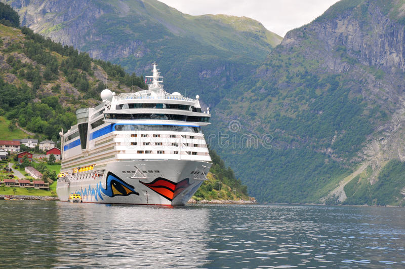 Geiranger, Norway. Cruise ship AIDA luna. Anchored in Geiranger fjord on Augustus 5, 2010 royalty free stock image