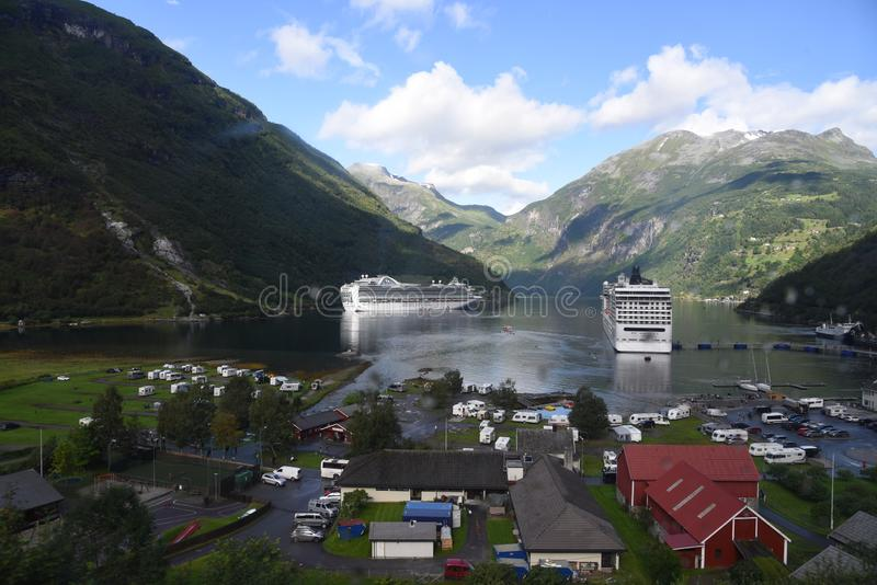 Cruise ships in Geiranger Norway stock photos