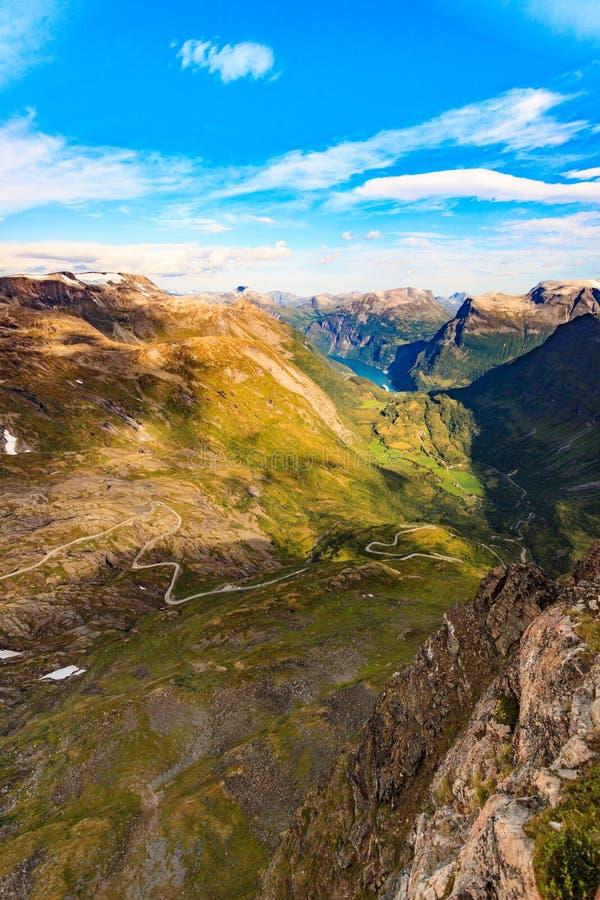 Geirangerfjord do ponto de vista de Dalsnibba, Noruega fotografia de stock royalty free