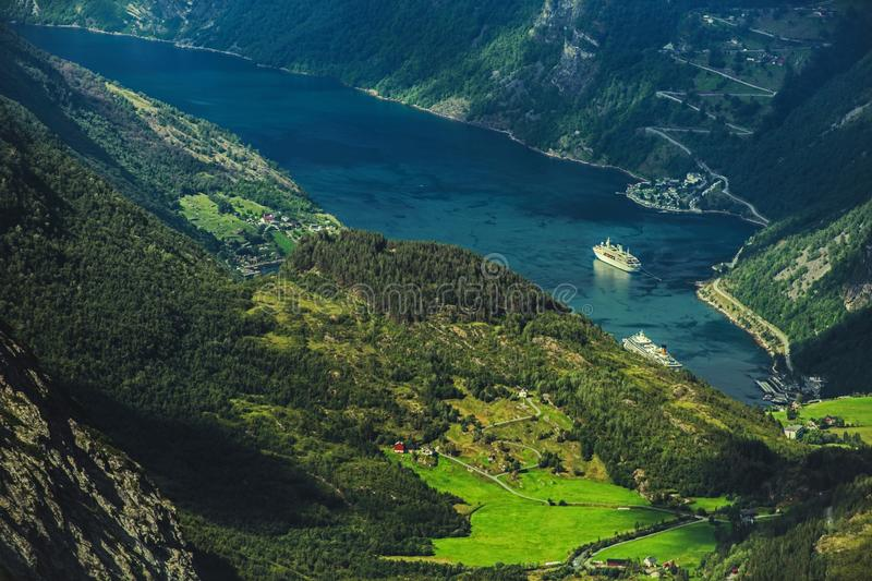 Geirangerfjord and the Village. Geirangerfjord and the Geiranger Village. Scenic Norwegian Landscape royalty free stock photos