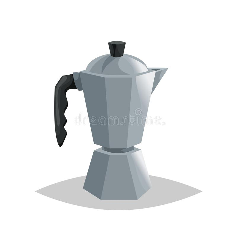 Geiser coffee pot maker. Cartoon style italian coffee maker. Drink ware vector illustration. vector illustration