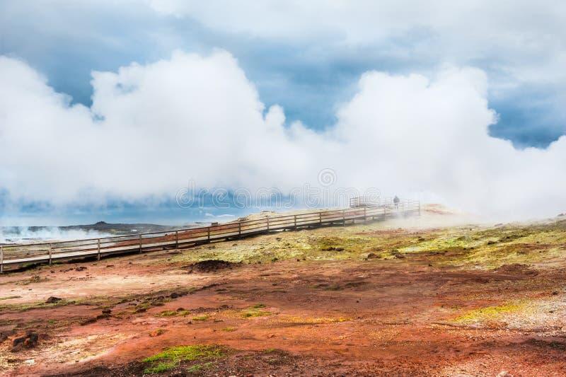 Geisers op het geothermische gebied van Gunnuhver in IJsland stock foto's