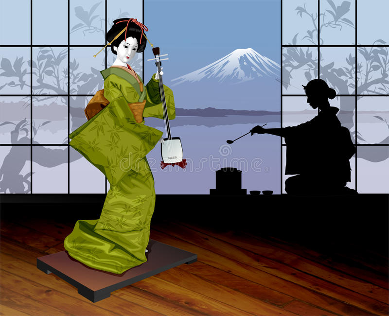 geisha stock illustrationer