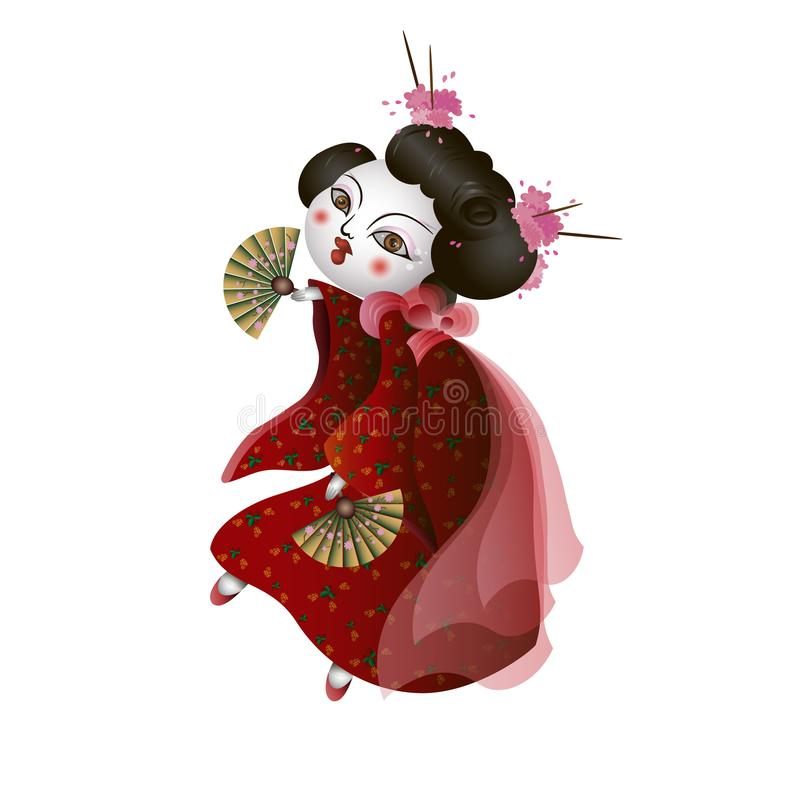 Geisha girl with fans is dancing. stock illustration