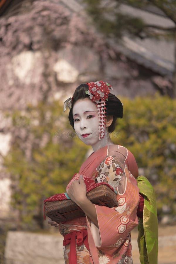 Geisha asiático joven de la mujer en un kimono que camina delante de un te japonés tradicional imágenes de archivo libres de regalías