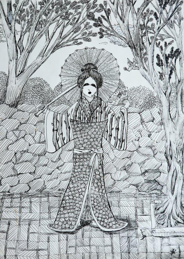 geisha avec la fan dans le dessin japonais de jardin. Black Bedroom Furniture Sets. Home Design Ideas