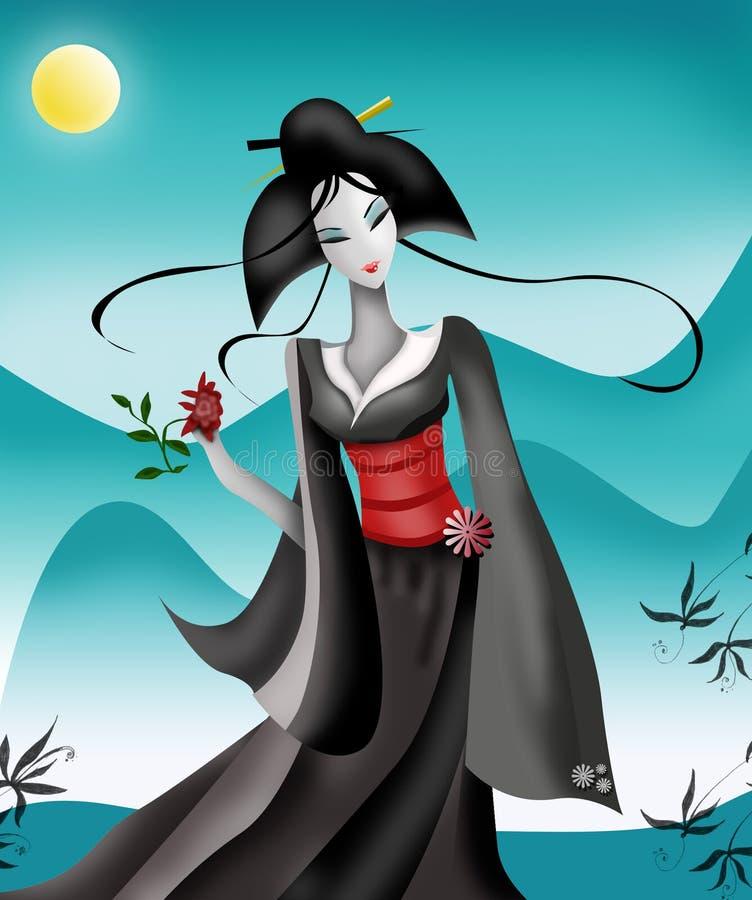 Geisha in Bergen stock illustratie