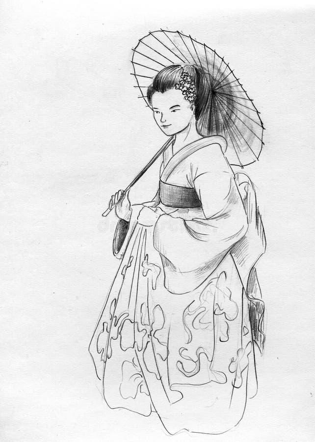 Geisha con el parasol de la sombrilla stock de ilustración