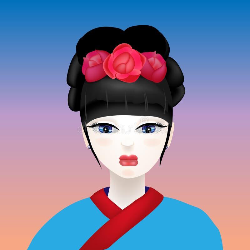 Geisha con un fronte bianco illustrazione vettoriale