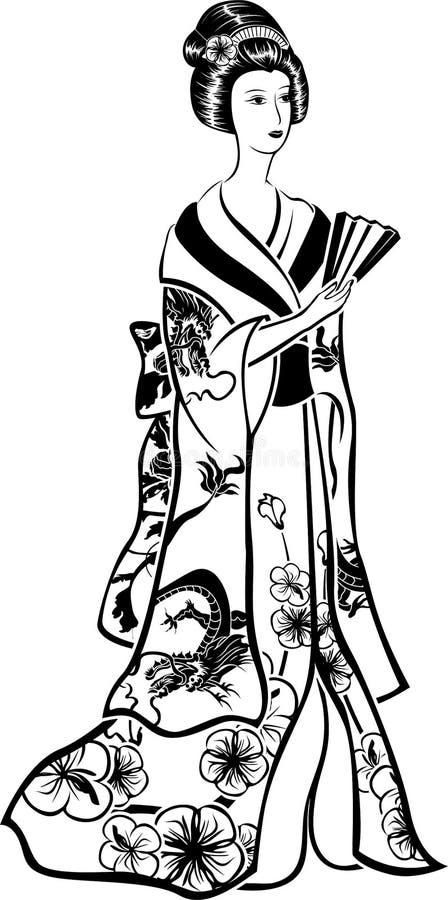 Geisha dans le costume traditionnel avec un ventilateur illustration libre de droits