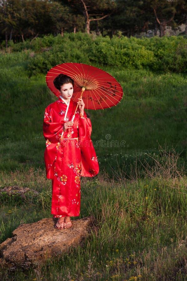 Geisha in de groene heuvels bij de zonsondergang royalty-vrije stock foto's