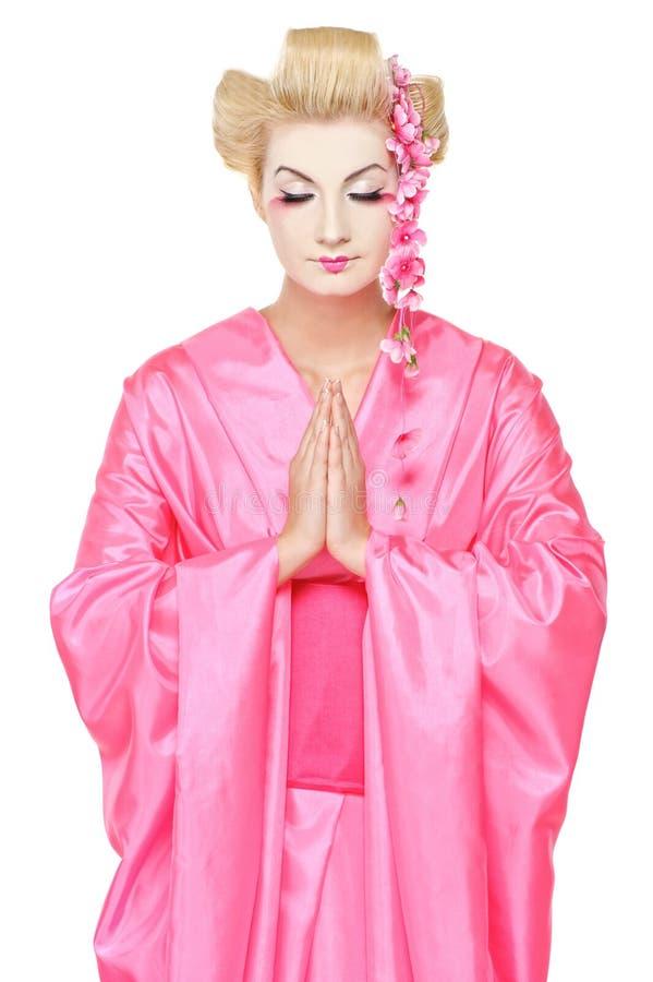 Geisha de prière image stock