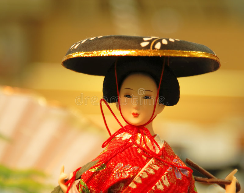 Geisha doll portrait stock image