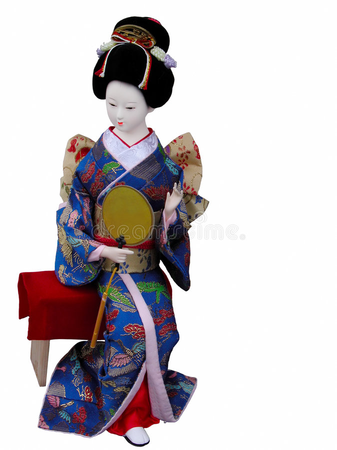 Geisha doll sitting stock photography
