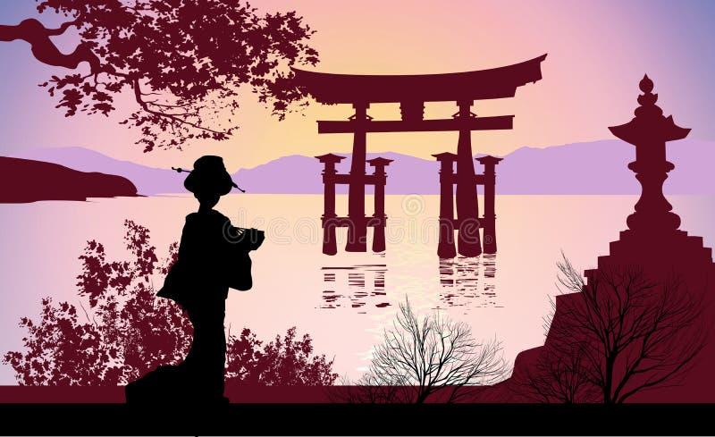 Geisha et mont Fuji avec des arbres illustration de vecteur
