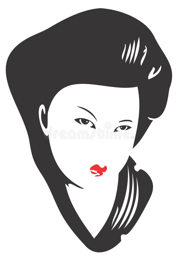 Download Geisha Face 02 stock vector. Image of comic, graphic, female - 3237789