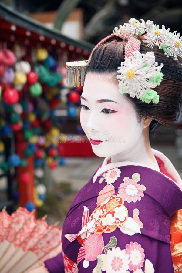 Geisha Face in Kyoto stockfotos