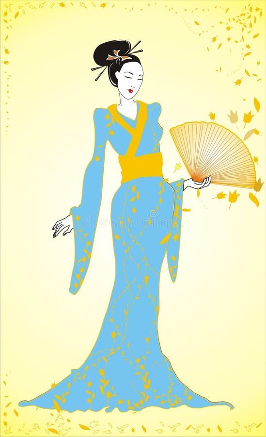 A geisha with fan vector illustration