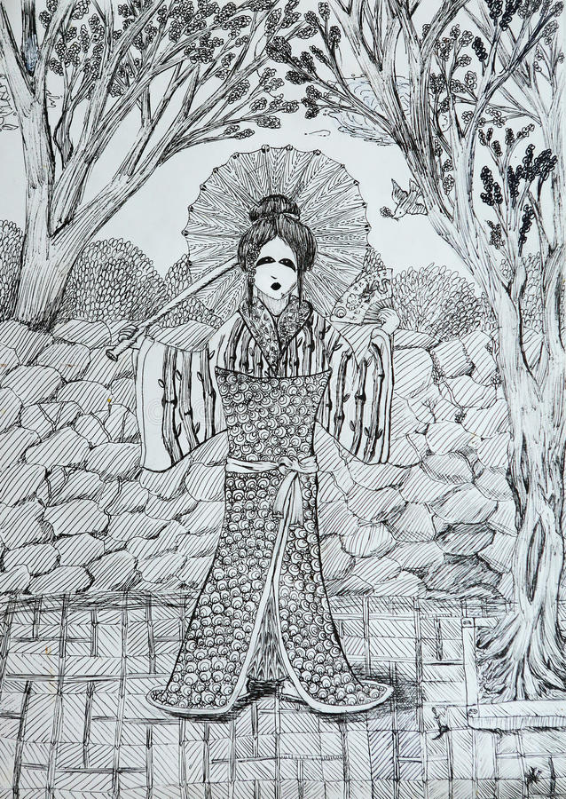 Download Geisha With Fan In The Japanese Garden Drawing Stock Illustration