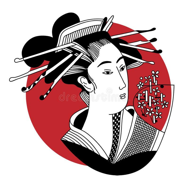 Geisha Femme japonaise illustration de vecteur