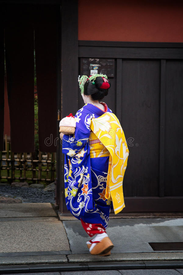 Geisha in Gion stock images