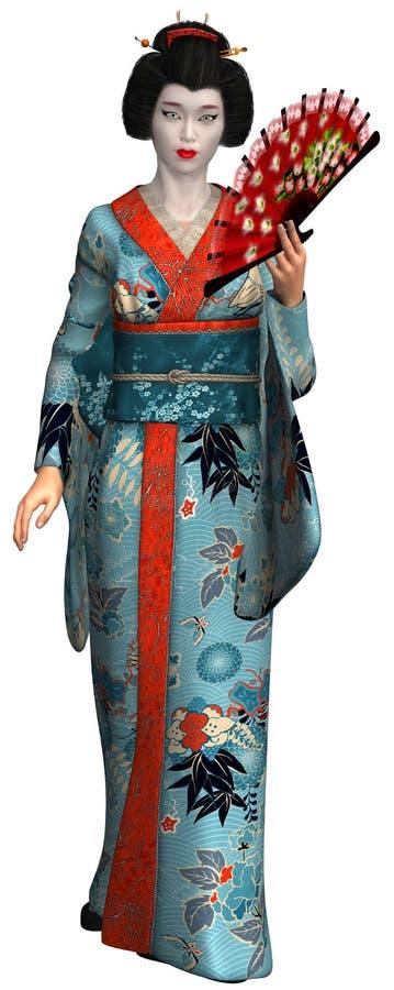 Geisha Girl, kvinna, isolerad illustration royaltyfri illustrationer