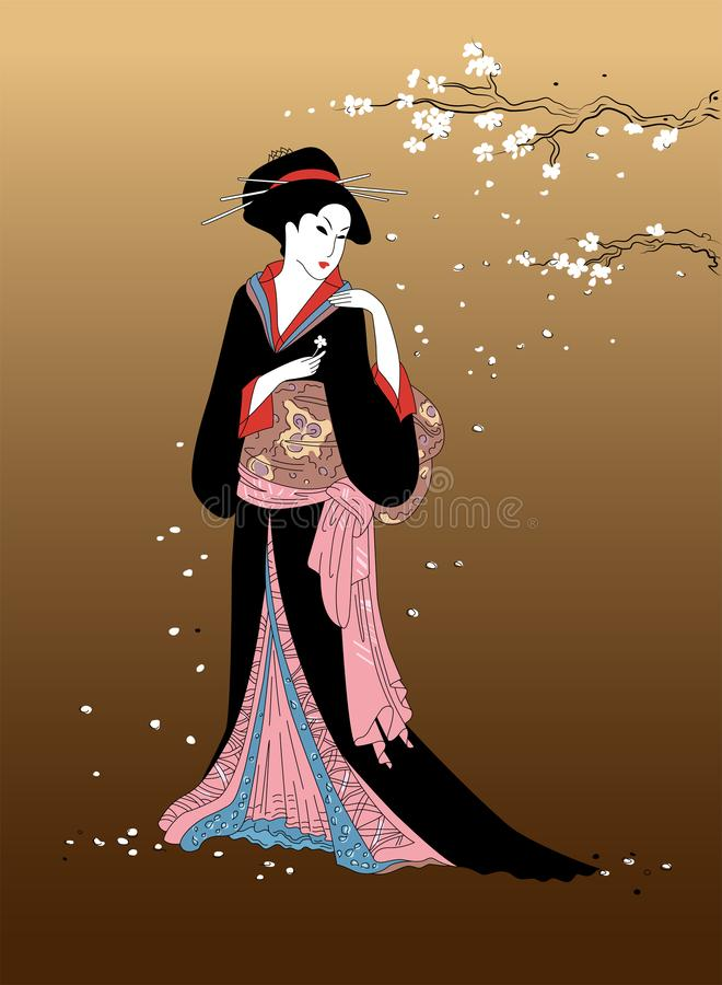 Geisha girl with sakura blossom branch on background. Beautiful japanese women in national dress. Element of traditional asian des. Ign vector illustration