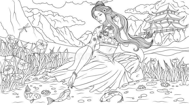 Geisha hermoso por el lago ilustración del vector