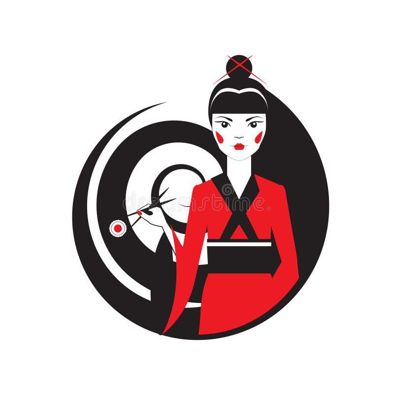 Geisha holding sushi with chopstiks isolated on white. Vector logo template of japanise reastaurant. vector illustration
