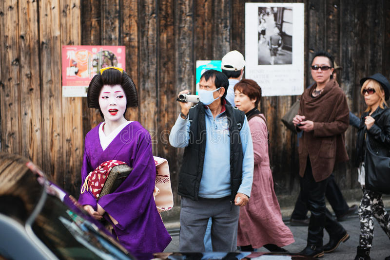 Geisha Hunt In Gion Editorial Stock Image