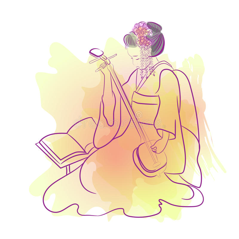 Geisha Japan classical Japanese woman watercolor style of drawing. Playing japanese girl royalty free illustration