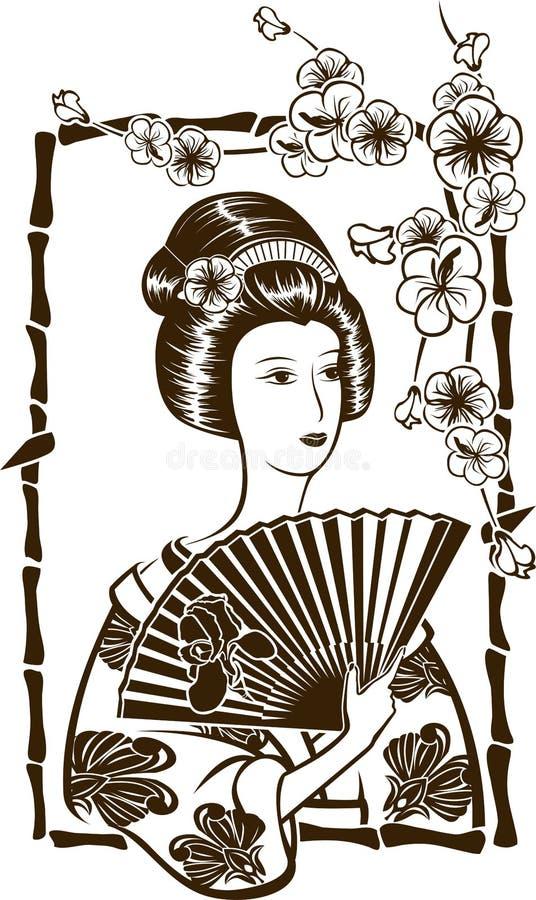 Geisha japonais traditionnel illustration libre de droits