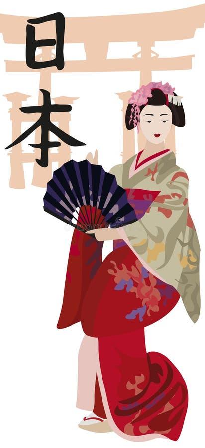 Download Geisha and Kanji stock vector. Illustration of decoration - 21904537