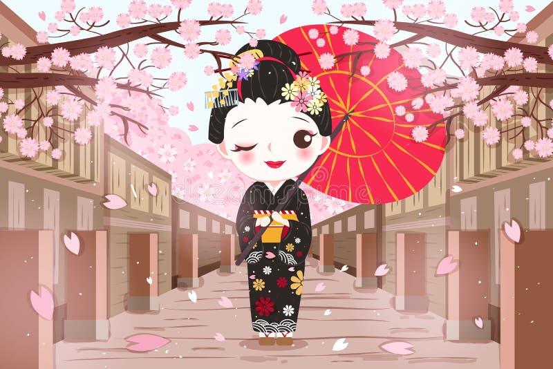 Geisha lindo de la historieta ilustración del vector