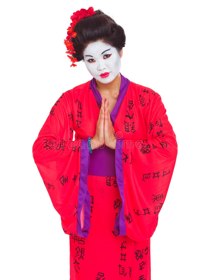 Geisha mit den Händen respektieren zusammen Geste stockfotografie