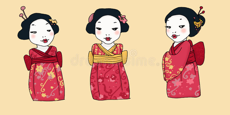 Geisha mit drei Karikaturen lizenzfreie abbildung