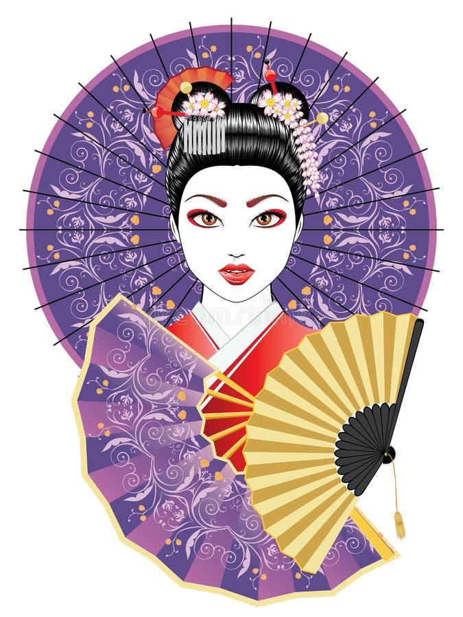 Geisha mit Fan und Regenschirm lizenzfreie abbildung