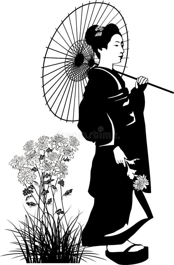 Geisha mit Regenschirm stock abbildung