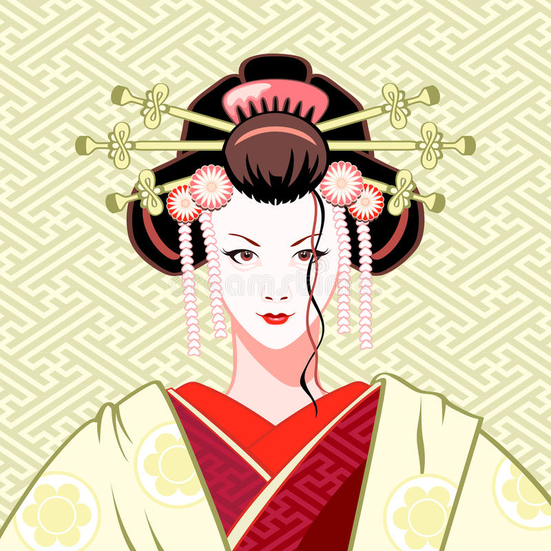 Geisha modern. Modern attractive geisha portrait in green-red colors royalty free illustration