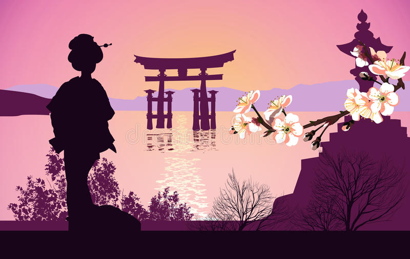 Geisha mountains in the background and the Japanese gate vector illustration