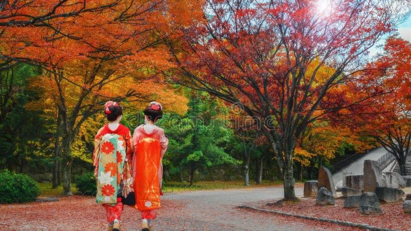 Geisha At Osaka Castle Park In Autumn Editorial