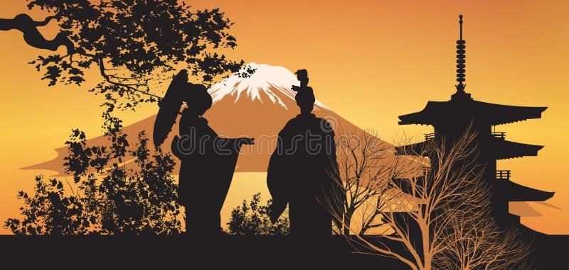 Download Geisha And Pagoda With Tree Stock Illustration - Image: 30174950