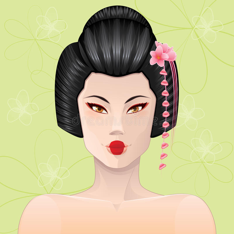 Geisha Portrait royaltyfri illustrationer