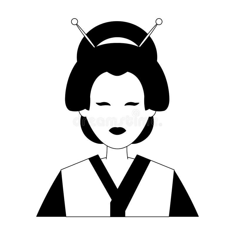 Geisha Profile Avatar In Black And White Stock Vector