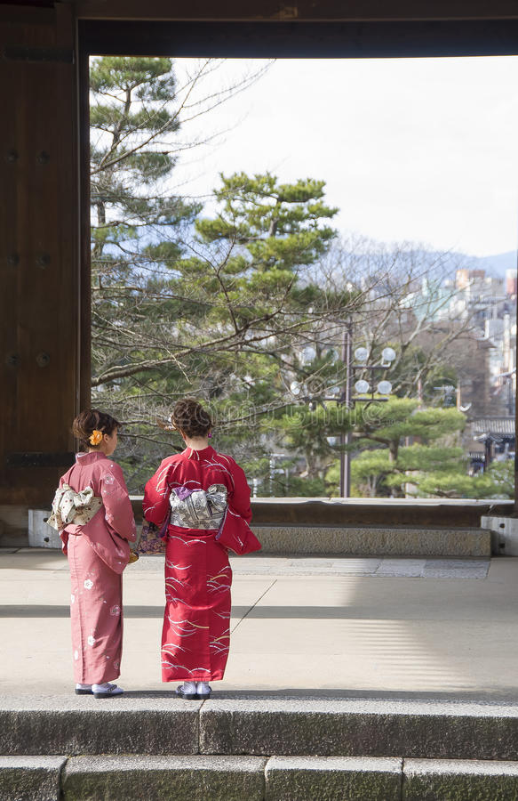 The geisha quarter of Gion. Meeting one of Kyoto's geisha is a magical and memorable experience. Here, I'll tell you all about them, where to find them and royalty free stock image